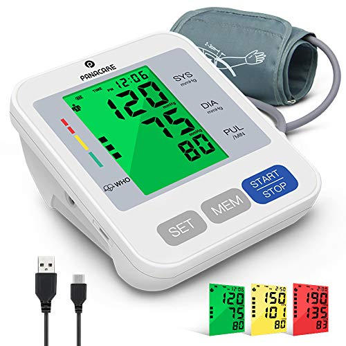 """Blood Pressure Machine for Upper Arm 3.4'' Tri-Color Backlight Screen PANACARE Automatic Electronic Blood Pressure Meter Monitor, BP Monitor Machine, Audio Reading, 8.7-16.5"""" XL Cuff for Home Use"""
