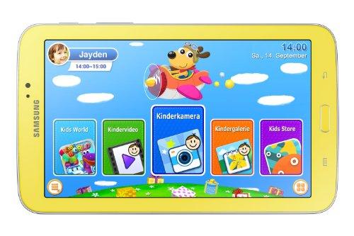 Samsung Galaxy Tab 3 17,7 cm (7 Zoll) Kids Tablet (Marvell PXA 986 (ARM basierend), 1GB RAM, 3,2 Megapixel Kamera, WiFi, Android 4.1) greenish-yellow