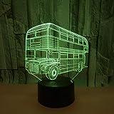 Luz nocturna para niños en 3D, acrílico, interruptor táctil de luz nocturna de 7 colores, lámpara visual 3D, lámpara LED para niños, protección de luz 3D