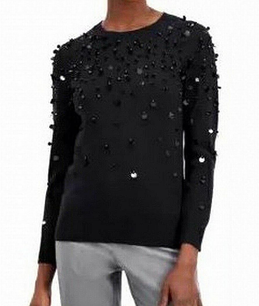 Alfani Womens Embellished Crewneck Pullover Sweater