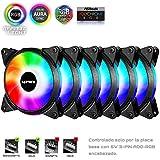 Novonest 120mm 5Vで PCケースファン ARGB 虹色 LEDリング搭載 静音タイプ AURA Sync対応 25mm厚 6本1セット【T3SYC3-6】