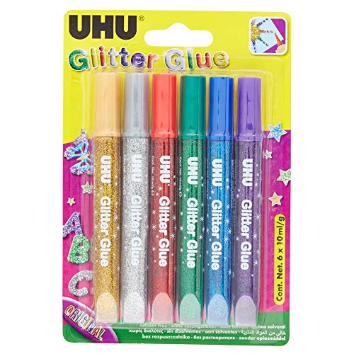 UHU Glitter Glue Original, Glitzerkleber zum Basteln, Dekorieren und kreativen Gestalten in Tube mit feiner Dosierspitze, 6 x 10 ml