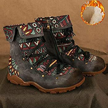 Womens Floral Combat Booties Ladies Vintage Comfy Lace Up Boho Ankle Boots Shoes  Gray,8