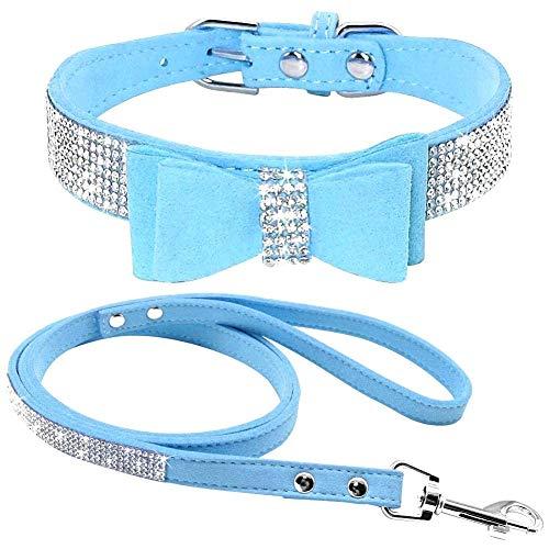 ETOPARS Correas de Collar de Perro con Diamantes de Imitación, Collar y Correa para Perro, Collar para Perro Correa de Piel de Ante Suave y Brillante