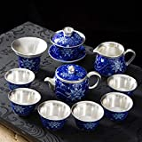 XBR Manual de Porcelana Azul y Blanca, Plateado, sopera, Tetera, Taza de té, té de Kung fu, infusión de té para el hogar, Caja de Regalo, Vestido, Juego de té, Ciruela, Flor