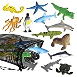 ArtCreativity Aquatic Sea Animal Assortment in Mesh Bag, Pack of 12 Sea Creature Figurines in Assorted Designs, Bath Water Toys for Kids, Ocean Life Party Décor, Party Favors for Boys and Girls