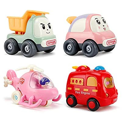 NASHRIO Pull Back Cars Toys for 1 2 3 Years Old Baby and Toddlers, 4 Pack Kids Early Educational Vehicles - Boys and Girls Birthday Party Favors Gift (Random Colors)