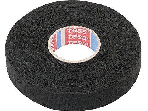 TESA 4005800147975 Gewebeband PET-Vlies 51608 Isolierband für Kabelbäume Baumwolle Klebeband (15mm x 25m), schwarz