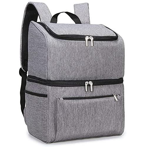 Cooler Bag 18l Double Decker Mochila enfriadora suave portátil con forro duro grande Cool Camping Park Gris