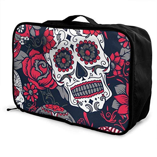 Koffertaschen Day Of The Dead Colorful Sugar Skull Travel Luggage Storage Duffel Bag Multifunctional Fashion Water Resistant Lightweight Travel Duffel Tote Bag With Trolley Sleeve Overnight Bag