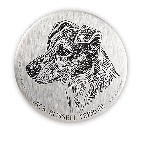 Schecker Selbstklebende silberfarbene Metallplaketten Jack Russel Terrier wetterfest versiegelt für den Briefkasten oder auch Autoaufkleben hochwertig und edel Warnschilder