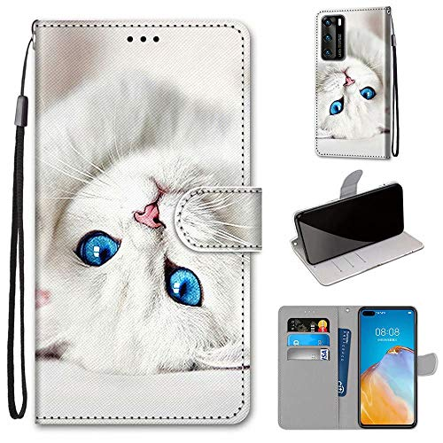 Miagon Flip PU Leder Schutzhülle für Huawei P40,Bunt Muster Hülle Brieftasche Case Cover Ständer mit Kartenfächer Trageschlaufe,Weiß Katze