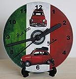 DIY CD Clock Kit - イタリアの旗、壁または卓上時計のFiat 500