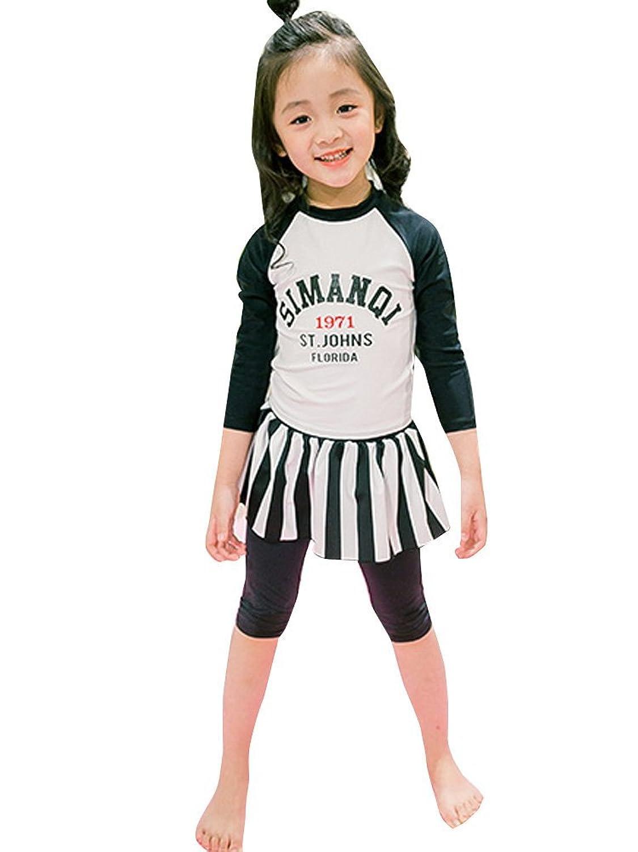 Kaiunchan キッズ 子供 水着 女の子 ラッシュガード 長袖 長ズボン スカート ストライプ ロゴ 日焼け対策2色