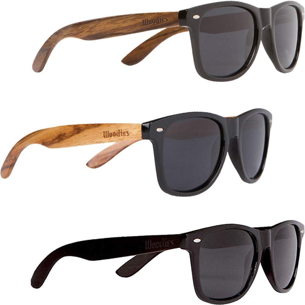 WOODIES Walnut Wood, Zebra Wood, and Ebony Wood Sunglasses with Black Polarized Lenses