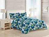 Tommy Bahama | Southern Breeze Collection | Quilt Set-100% Cotton, Reversible, Light Weight & Breathable, Pre-Washed for Added Softness, King, Dark Blue