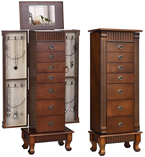 Happygrill Jewelry Armoire Freestanding Wooden Jewelry Cabinet with Mirror Jewelry Storage Organizer with 7 Drawers and 2 Swing Doors