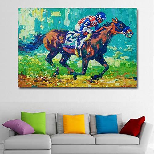 SADHAF Abstract Landschap Olieverfschilderij Amerikaanse Geest Paard Racing Mural Art Olieverfschilderij Canvas Poster Muurdecoratie 50x70cm (no frame) A3