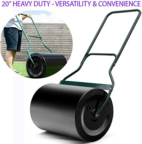 "Best Price 16G Heavy Duty Poly Push Tow Lawn Roller Poly Roller Green Sprayed Surface, Smooth Surface, Not Easy to Rust, Beautiful & Fashionable Color with U-Handle for Comfortable Pull & Push Use 20″ x16""x 50″"