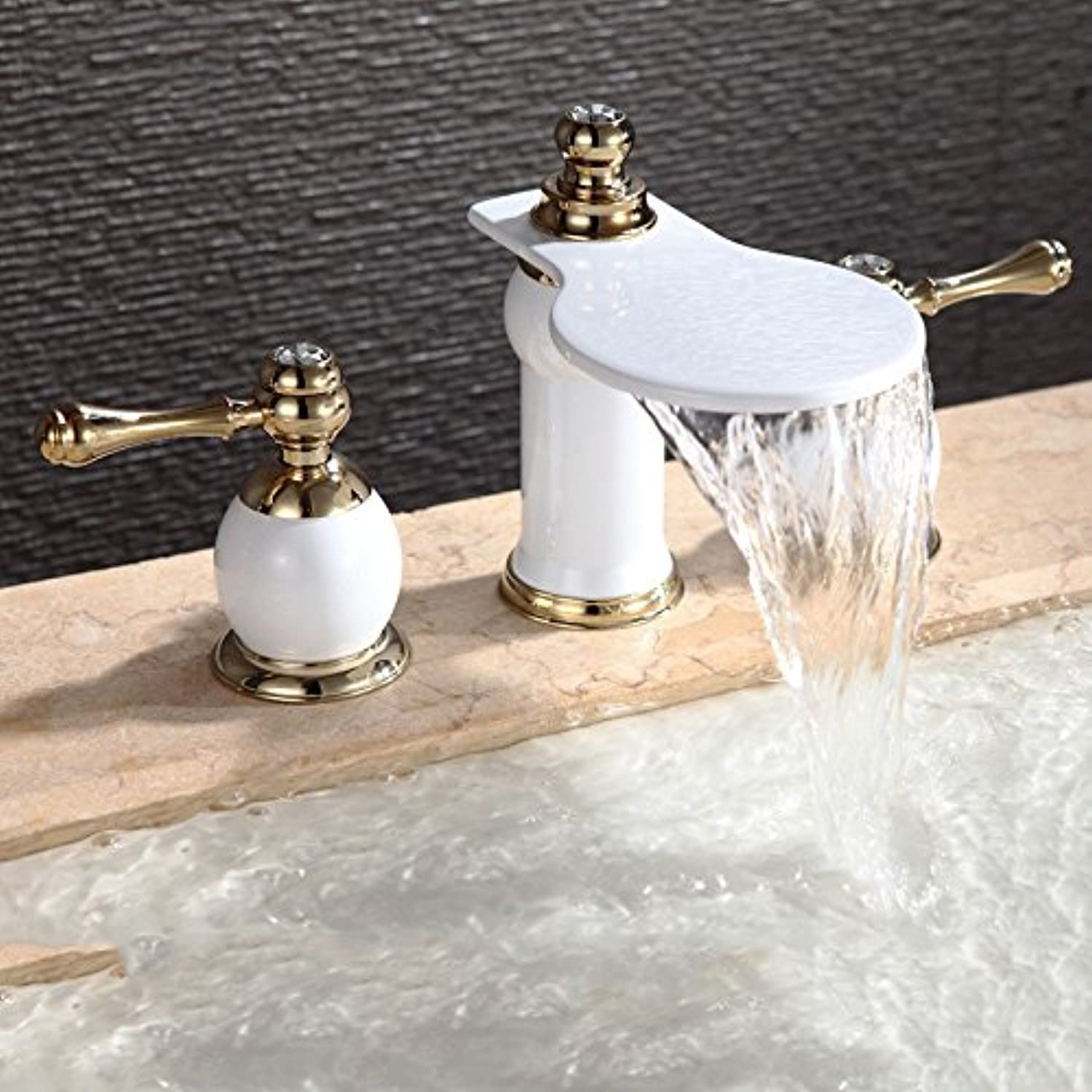 ZXYSink faucets high-end copper paint waterfall tap double three bathroom cabinet basin faucet white