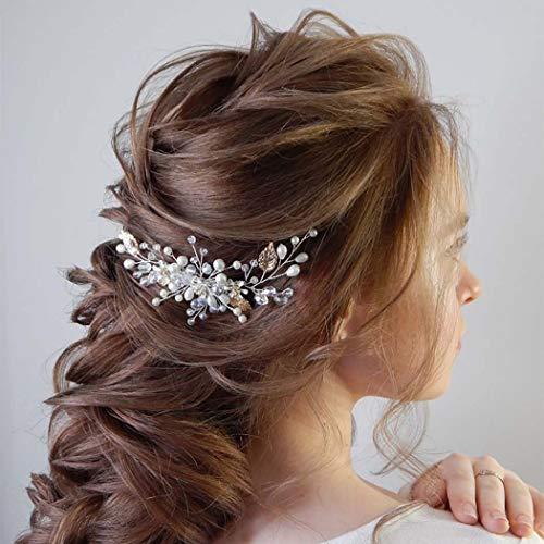 Edary Brautschmuck Hochzeit Haarkamm Silber Blume Braut Kopfschmuck Perle Haarspangen Blatt Haarschmuck für Frauen und Mädchen