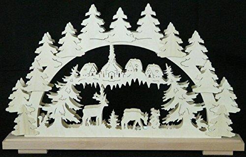 Schwibbogen Tiere im Wald – Lichterbogen – Leuchterbogen – Holz – Erzgebirge – Fensterschmuck – Maße: B x H = 50 cm x 31 cm - NEU
