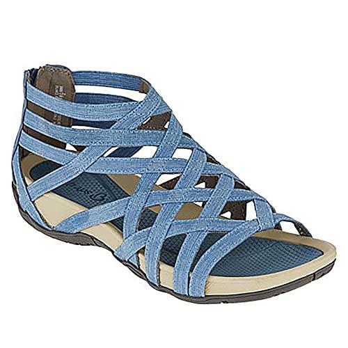 Orgrul Sandalias Mujer Verano 2021, Chanclas Mujer Verano, Planas Sandalias Mujer Plana Bohemio Espiga Diamante De Imitación Playa Clip Toe Pisos Cómodo Casual Zapatos 3C (43, Blau)