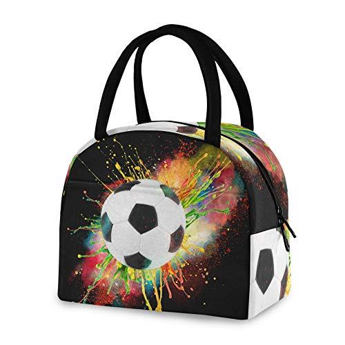RELEESSS - Bolsa térmica para el almuerzo, para deportes, pelota de fútbol, reutilizable, bolsa enfriadora para mujeres, hombres, niñas y niños