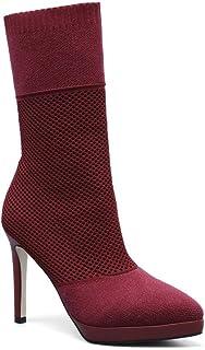 BalaMasa Womens Dance-Ballroom High-Heels Solid Leather Boots ABM13610