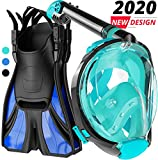cozia design Snorkel Set Adult - Full Face Snorkel Mask and Adjustable Swim Fins, 180° Panoramic...
