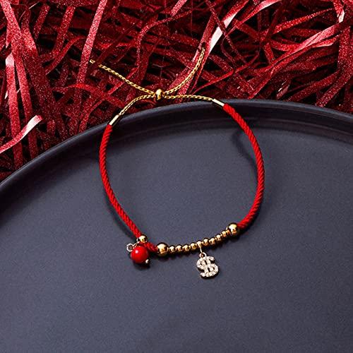 CXWK Pulseras de la Suerte para Mujer, niña, Copo de Nieve, corazón, Cruz, Vaca, Ganado, encantos de Cristal, Pulsera de Cuerda roja Ajustable
