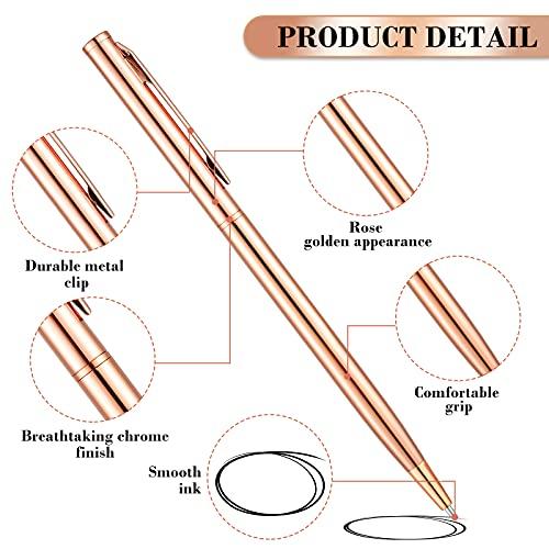12 Pieces Slim Metallic Retractable Ballpoint Pens Lightweight Black Ink Metal Pens Rose Gold Ballpoint Slim Pens Medium Point 1.0 mm Pens for Business Office School Supplies Photo #6