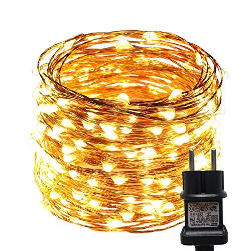ACDE Guirnaldas Luces Enchufar, 10M/100 LED Cadena de Luces Impermeable Adaptador UE incluido, Luces de Alambre Cobre para Navidad Boda Fiesta Interior Intemperie Decoración, Blanco Cálido