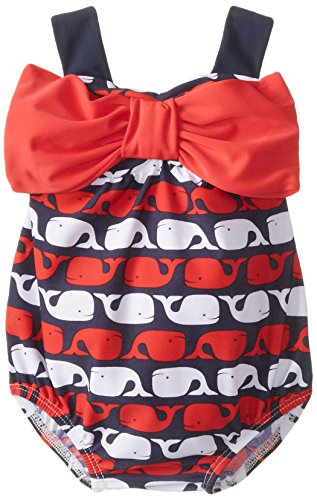 Mud Pie Baby Girls' Whale Swimsuit, Blue, 12 18 Months