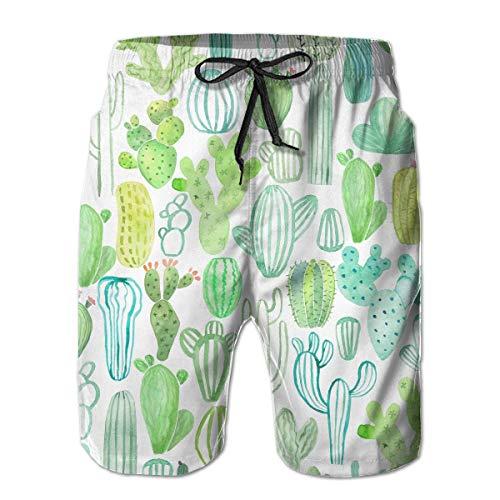 Générique Mens Casual Aquarelle Divers Cactus Longueur Moyenne été Cordon de Plage Shorts de Surf Pantalon Pantalon m