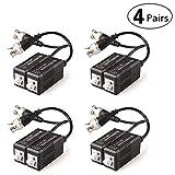 Faittoo 4 Pares 8 Piezas pasivo transceptor de vídeo Balun transmisor y con Cable para 1080p TVI/CVI/TVI/AHD/960H DVR cámara CCTV Sistema,...