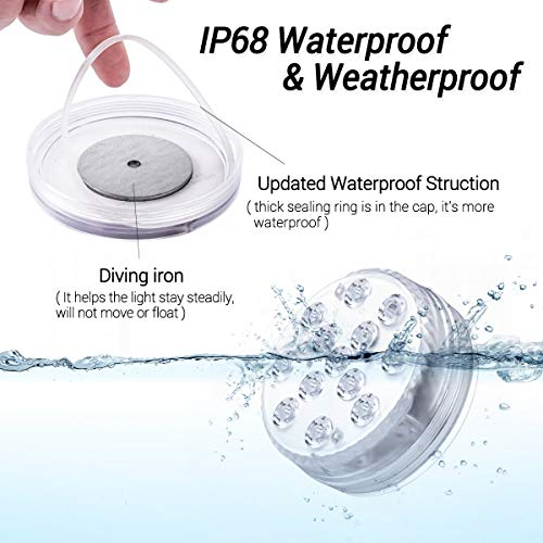 LOFTEK Magnet Submersible LED Lights with Suction Cups, Remote (RF),IP68 Full Waterproof Bathtub Lights 13 LED Color Changing Battery LED Lights Underwater for Bathtub, Shower,Hot Tub, Spa, Party