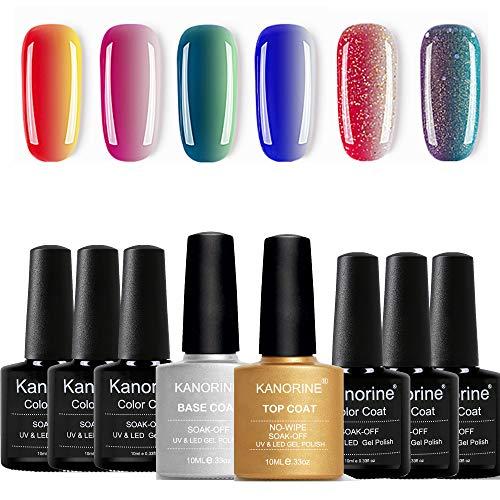 KANORINE™ Color Change Nagellack Gel UV/LED Nagelstudio-Sets (6 x Farbe nagellack gel + 1xÜberlack +1x Unterlack) Nagellack Nail Gel Polish Farbgel Nagelgel Nudefarben 10mlx8