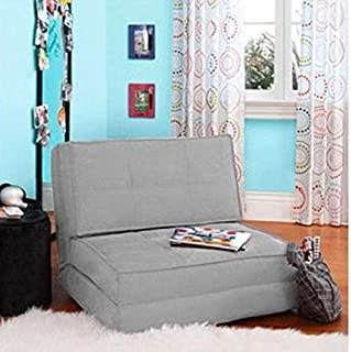 Flip Chair Convertible Sleeper Dorm Bed Couch Lounger Sofa (Suede Material, Gray)