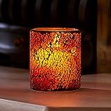Auraglow Mosaikglas Realistisch flackernde flammenlose LED-Dekorativkerze mit Sicherheitsflamme und Timer