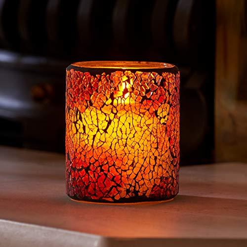 Auraglow Mosaikglas Realistisch flackernde flammenlose LED-Dekorativkerze mit Sicherheitsflamme und Timer, perfektes Stimmungslicht oder Mittelstück