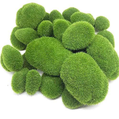 Bopfimer 30 piedras artificiales de musgo de tamaño 3 unidades, bolas de musgo verde, para arreglos florales jardines y manualidades