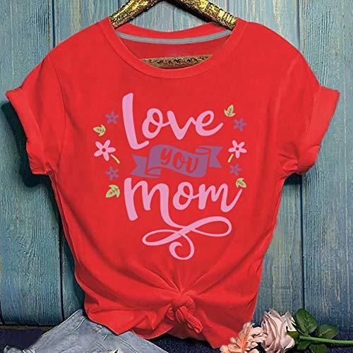 ZCMWY Camisas Casuales de Mujer Lady Love You Mom Camiseta de Manga Corta con Cuello Redondo y Estampado de...
