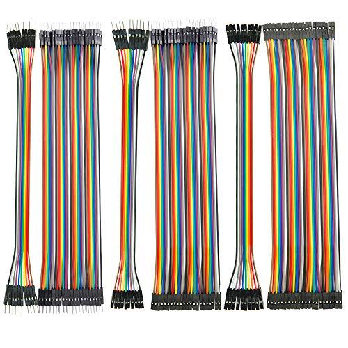 150pcs Cavetti Jumper Filo Dupont Wire (10cm), 50 Maschio a Femmina, 50 Pezzi da Maschio a Maschio, 50 Pezzi da Femmina a Femmina per Arduino Uno Raspberry Pi