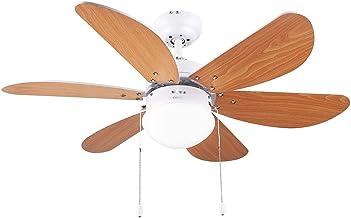 Cecotec Ventilador de Techo con Luz EnergySilence Aero 360. 50 W, Bajo consumo, 91 cm de Diámetro, 6 Aspas Reversibles, 3 ...