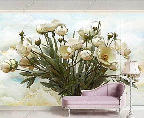 Papel pintado de papel de murales en relieve de flores de mármol 3D decorativo Pared Pintado Papel tapiz 3D Decoración dormitorio Fotomural sala sofá mural-300cm×210cm