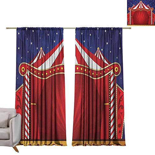 Decor Waterdichte Gordijnen Verduisteringsgordijnen Voor Slaapkamer Woonkamer Circus, Canvas Tent Circus Stage Performing Theater Jokes Clown Vrolijke Nacht Thema Blauw Vermilion