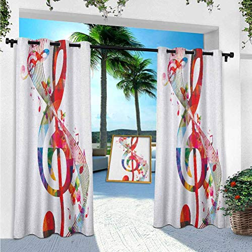 YUAZHOQI Music Curtains, Artwork with Musical Notes Rhythm Song Ornamental in Vibrant Colors Fantasy Theme, 52' x 108' Patio Curtain for Outdoor Waterproof(1 Panel)