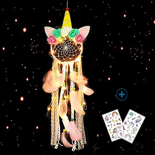 Nice Dream Atrapasueños con diseño de Unicornio con luz LED, Hecho a Mano, diseño de Flores, Color Rosa (Unicornio2)