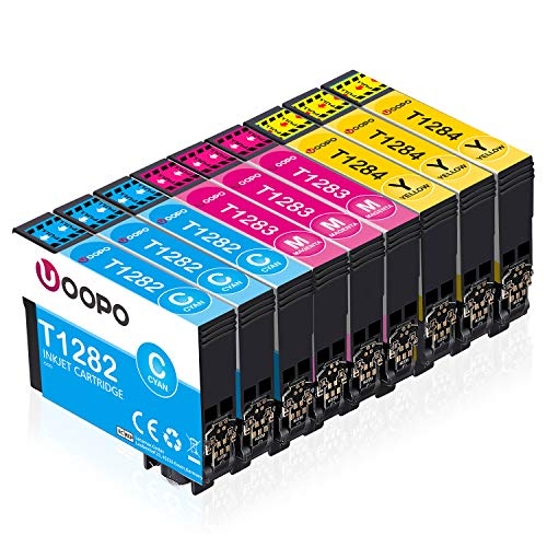 Uoopo T128 Compatibile per Epson T1282 T1283 T1284 Cartucce d'Inchiostro Epson Stylus SX445W S22 SX125 SX130 SX230 SX235W SX420W SX425W SX430W SX440W BX305F BX305FW (3 Ciano,3 Magenta, 3 Giallo)